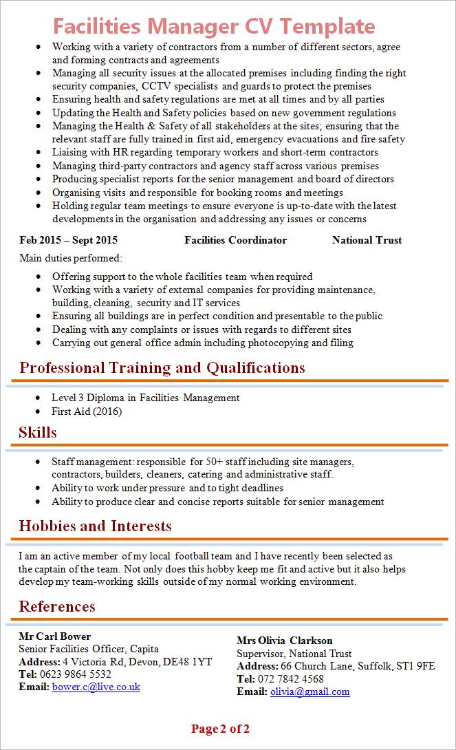 cv template management skills