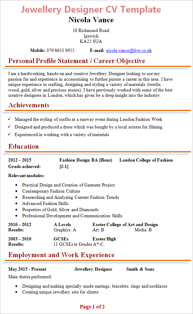 cv work experience format