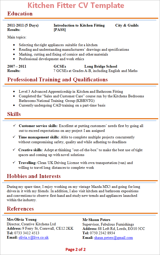resume kitchen help