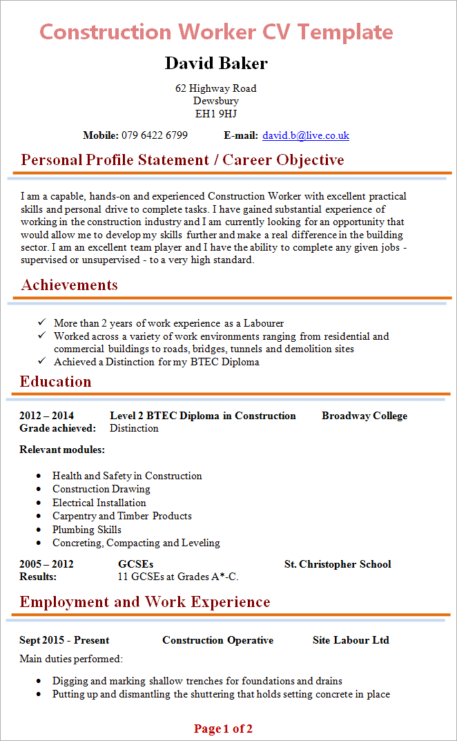 100 Sample Curriculum Vitae Layout Download Construction Worker Cv 1