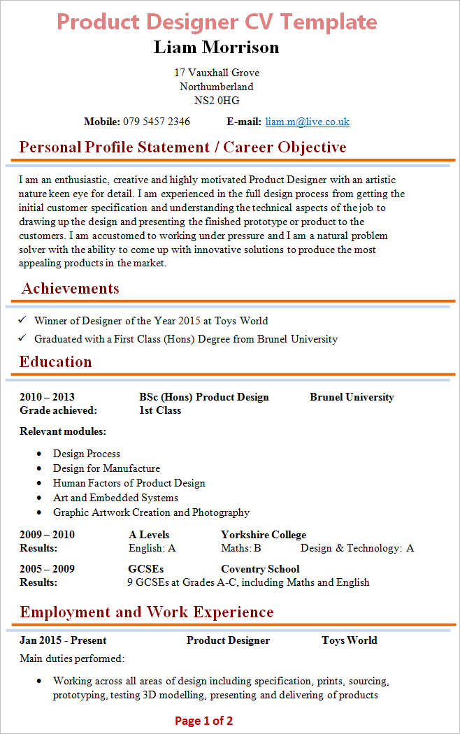work cv sample
