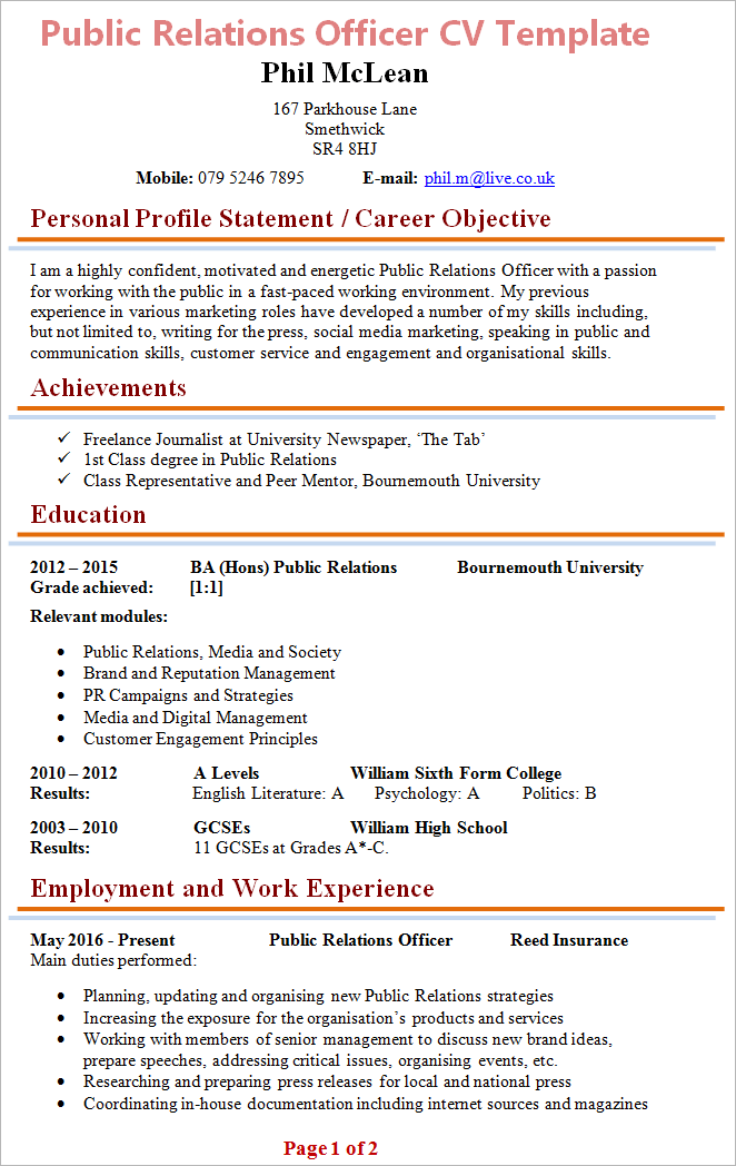 example cv uk pr