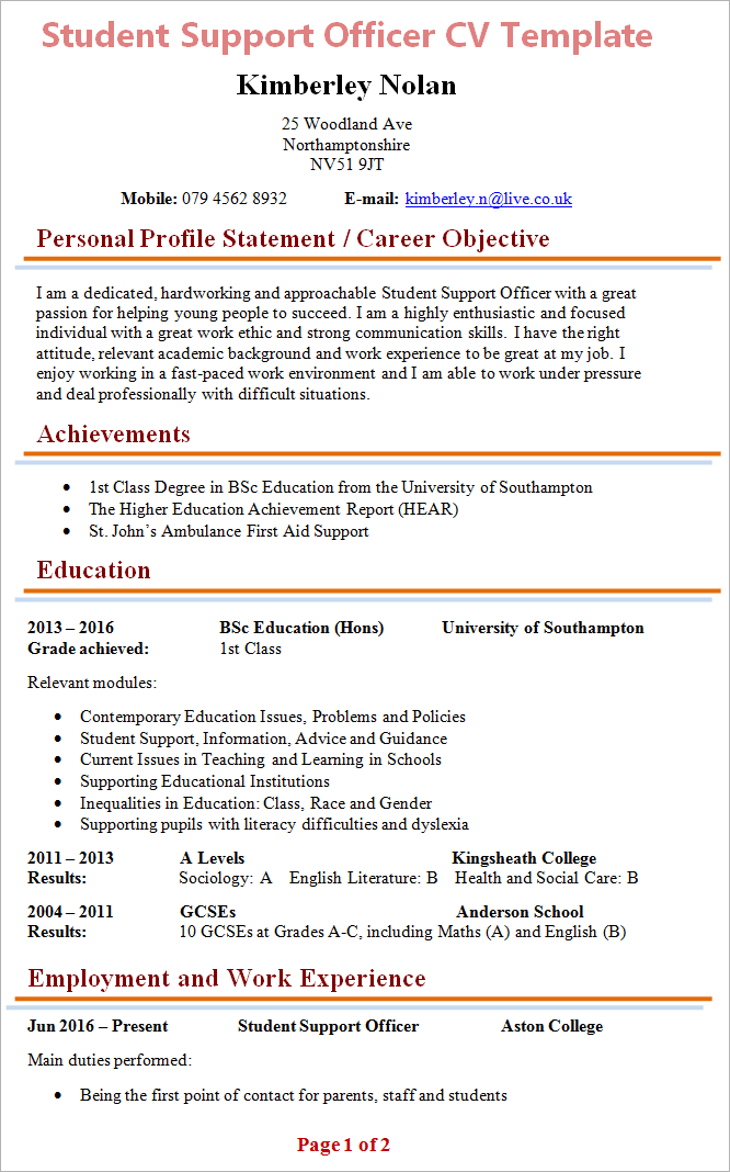 how to write a good cv pdf
