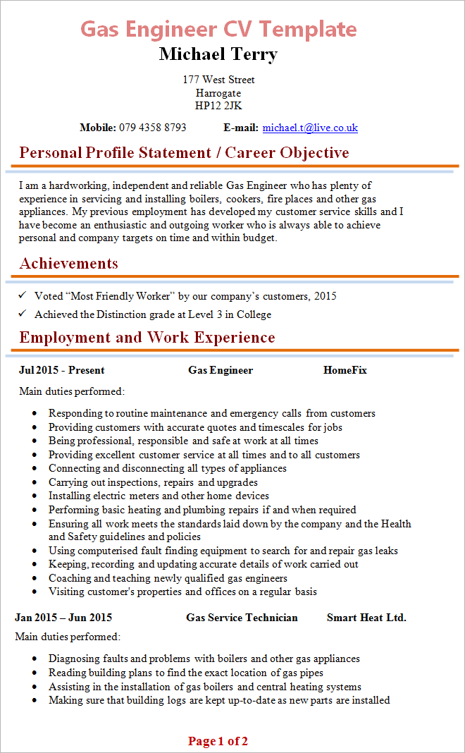 cv template engineer word