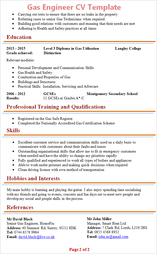 Cv Layout References The Best Way To References On A Resume With Samples Gas Engineer Cv Template 2