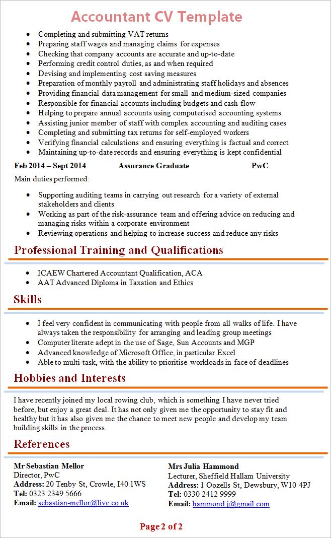 cv references format