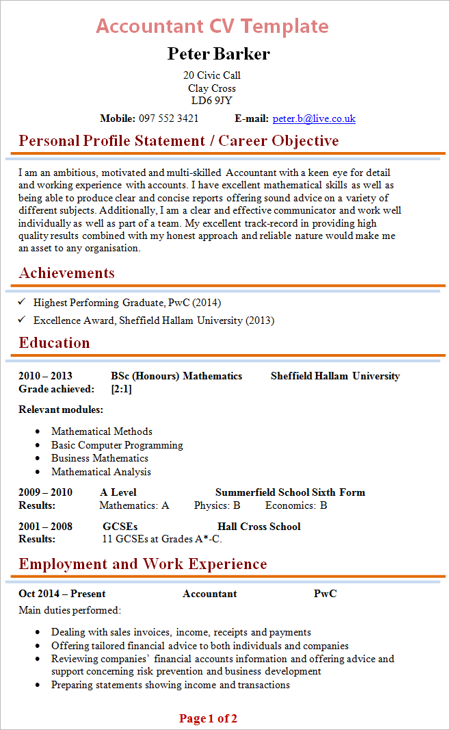 Cv Template Free Professional Resume Templates Word Accountant Cv Template