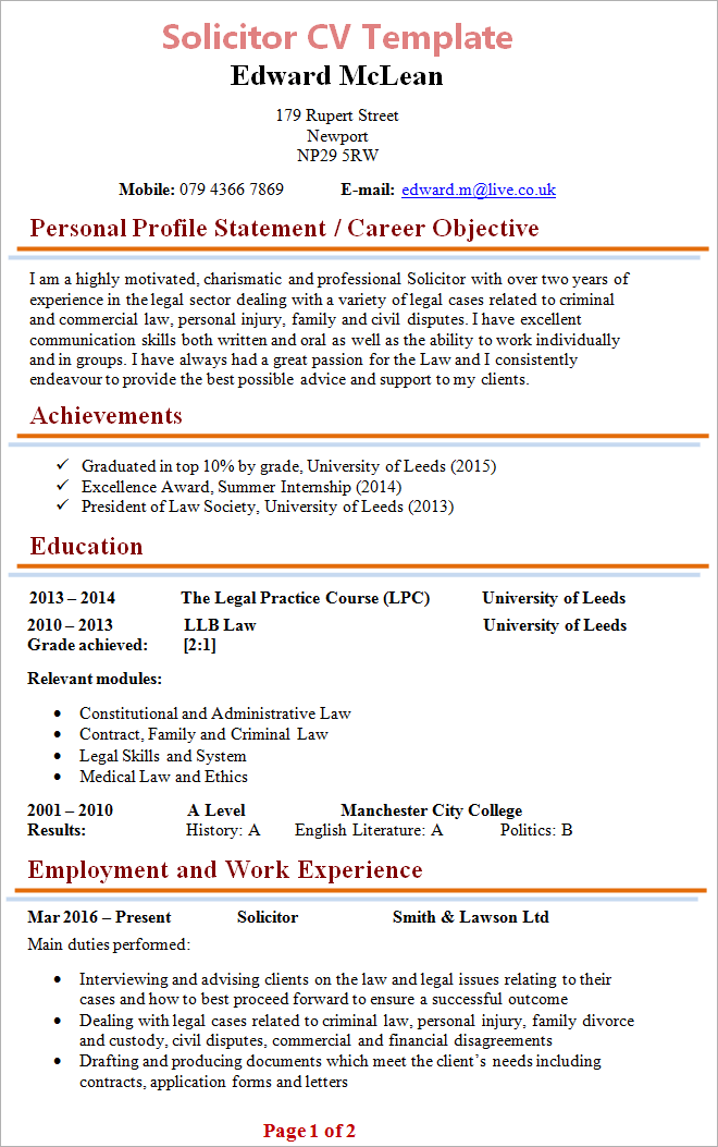 Free Cv Templates Word Uk Cv Templates To Fit Every Stage Of Your Career Guardian Solicitor Cv Template