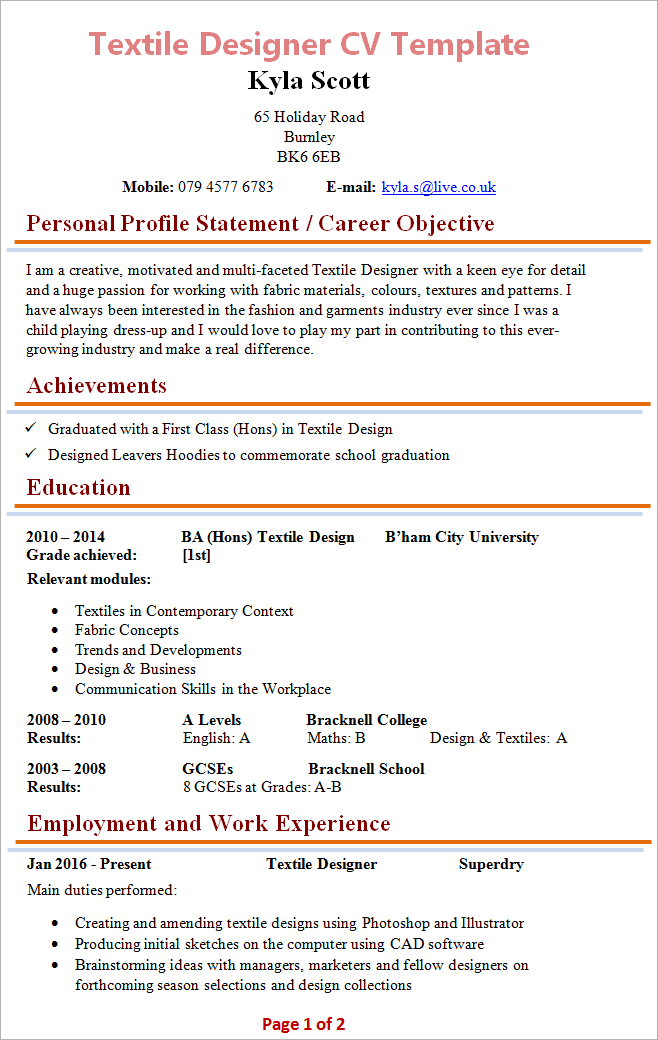 Good Cv Template Pdf The Pdf Version Of This Cv Template Is A Learningteaching Textile Designer Cv Template 1