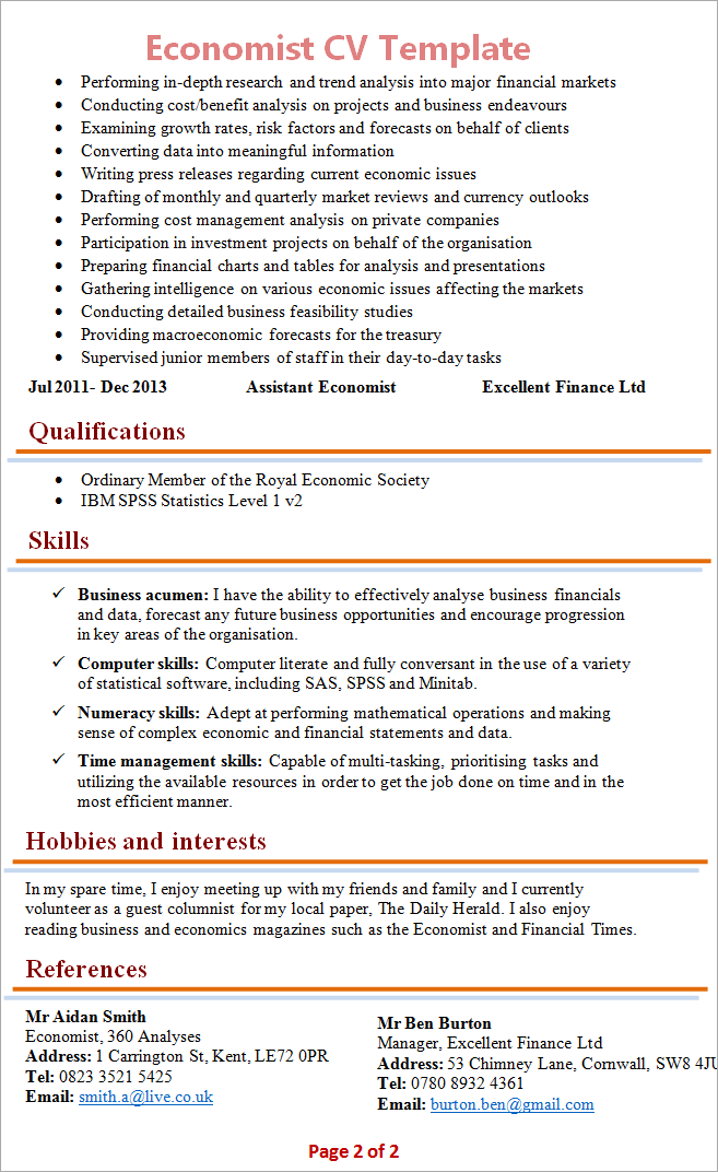 economics academic cv template latx