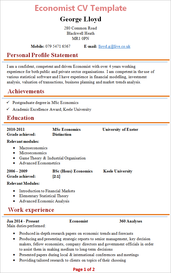 cv template free student