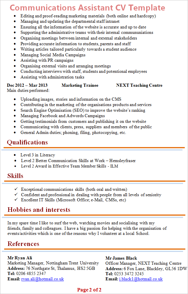 cv assistant communication marketing