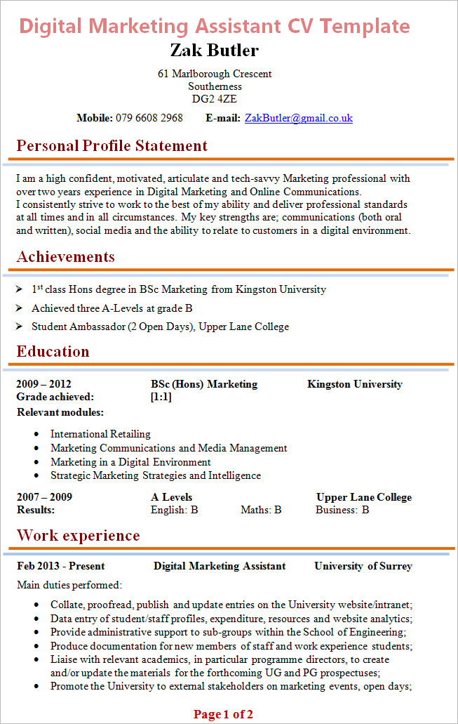 digital marketing assistant cv