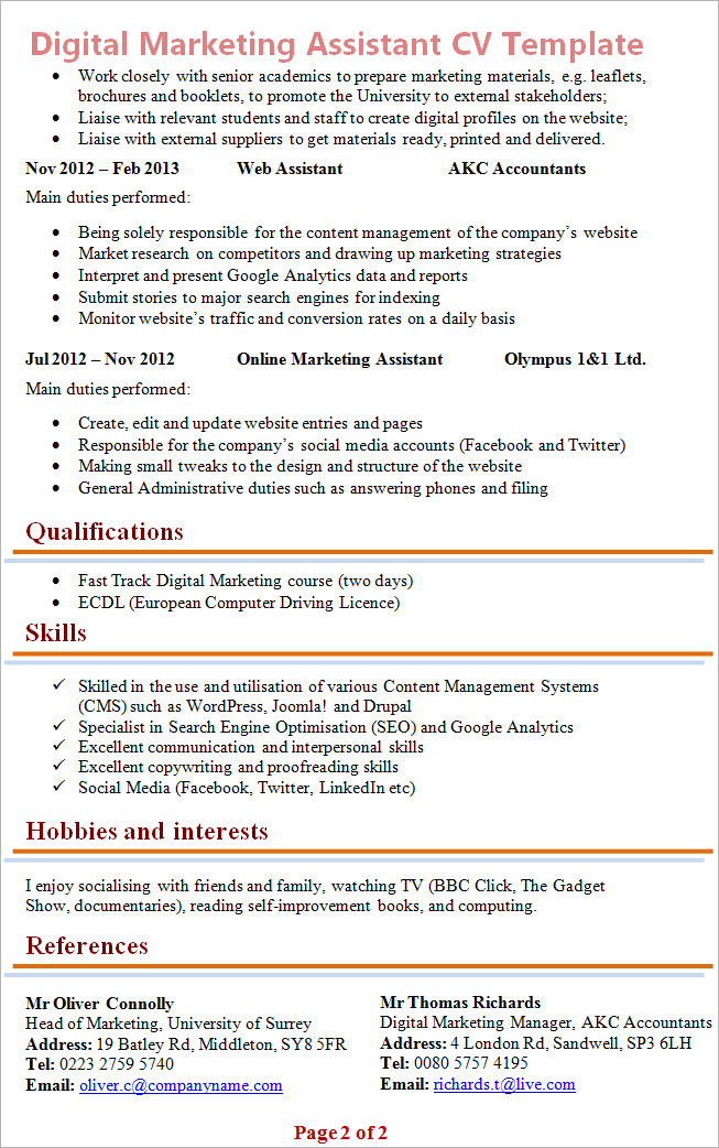 cv template hobbies and interests