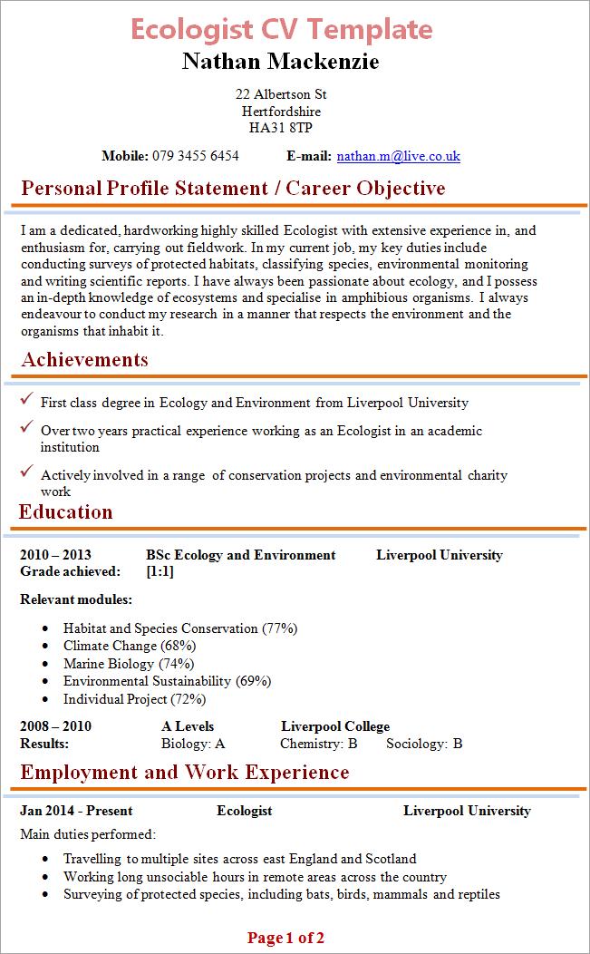 Free Cv Template Download Uk Free Cv Templates Jobs Uk Job Search Ecologist Cv