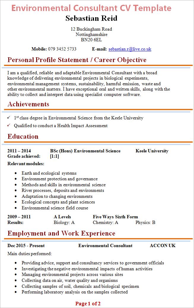 scientific cv template word