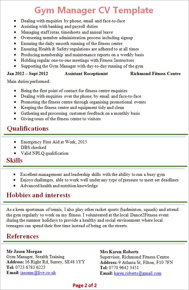 sample resume for gym manager