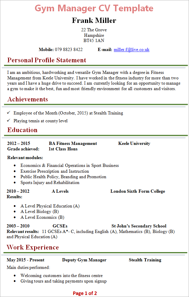 financial manager cv format
