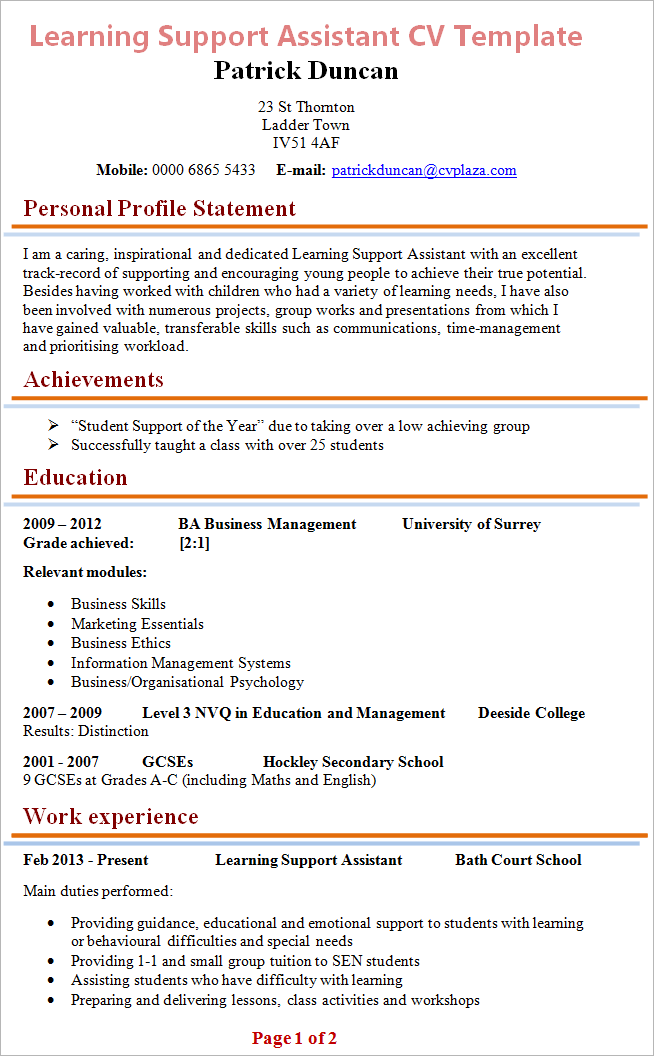 Cv Format Guidelines Home Europass Learning Support Assistant Cv
