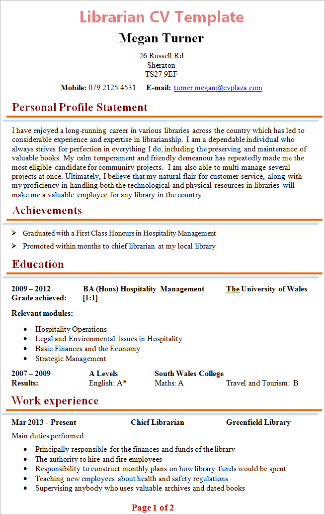 Cv Sample Research Sample Cv Cv Examples Cv Librarian Cv