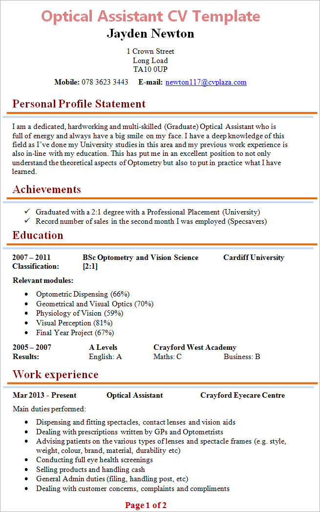 cover note resume template