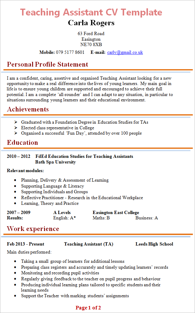 cv personal profile examples high school