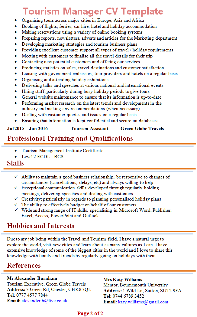 tourism resume sample
