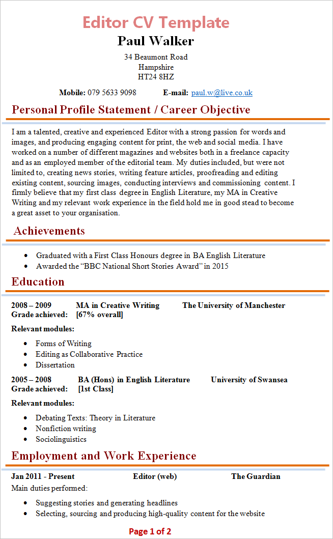 template cv viewer