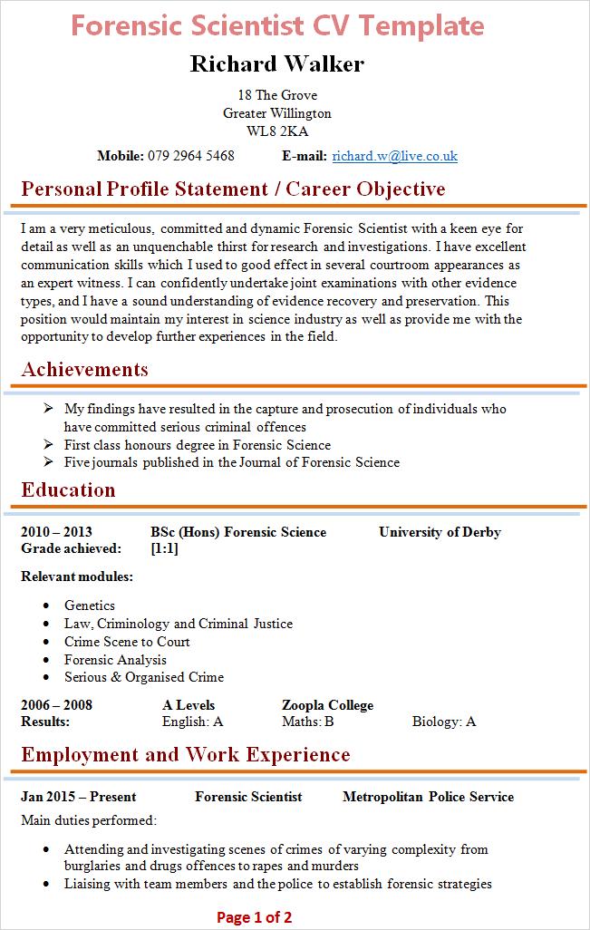 science cv template