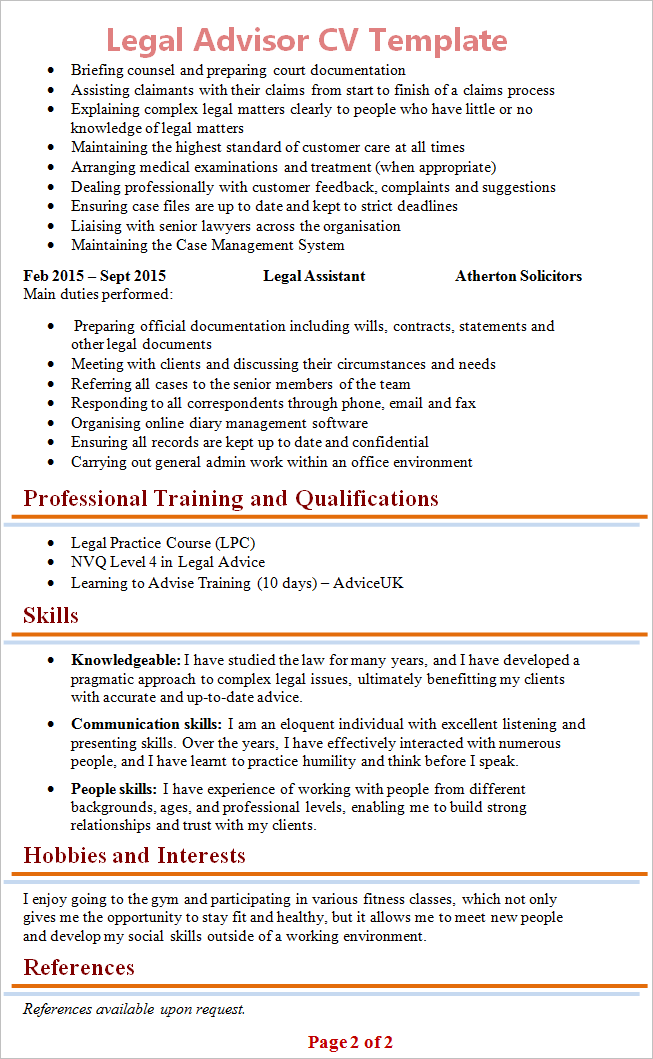 law resume template