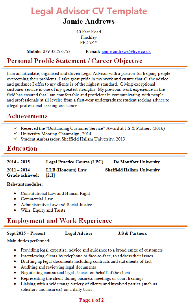 law cv template uk