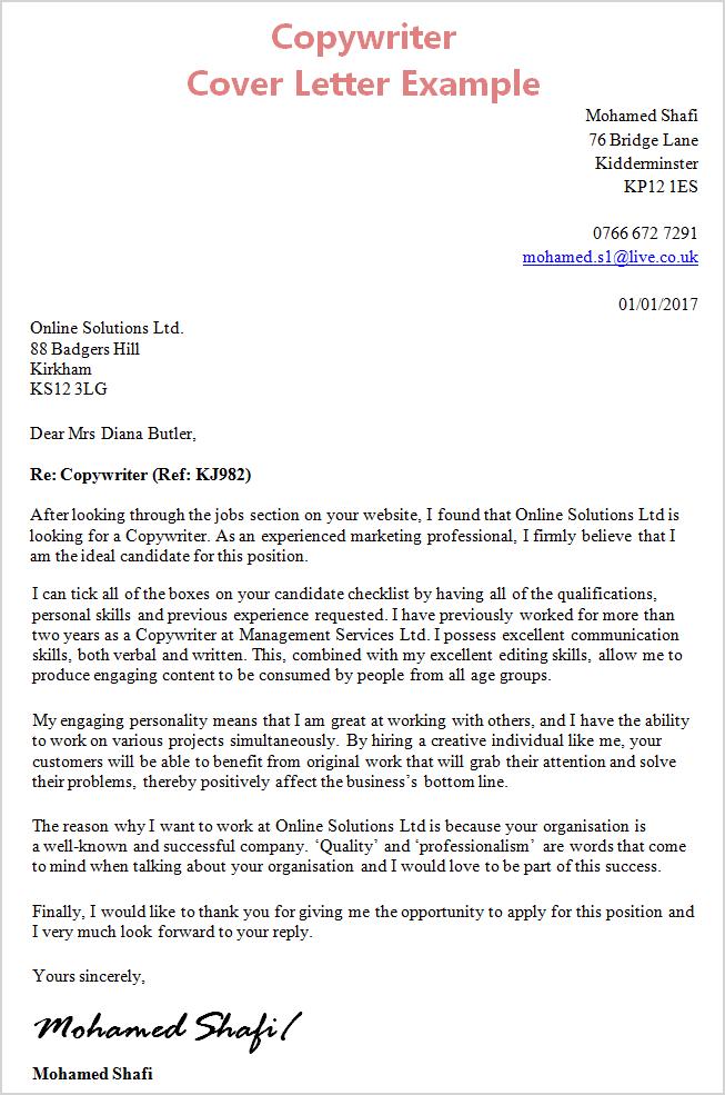 cover letter example australia