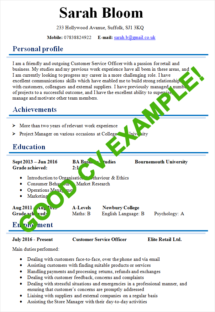 how to write a good cv uk example