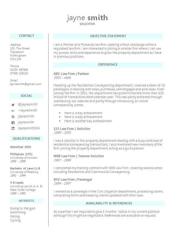 lawyer cv template word