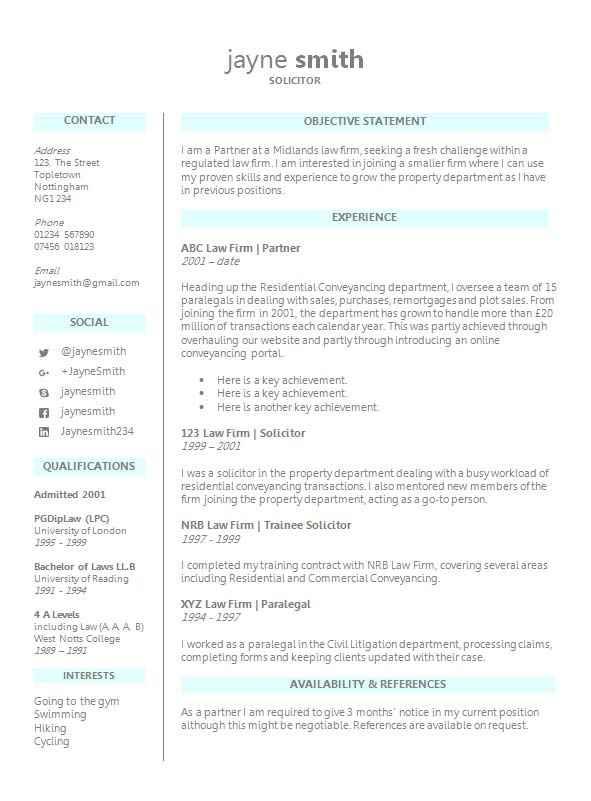 lawyer cv template word