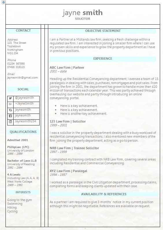 Legal CV template - free download in MS Word from How to Write a CV