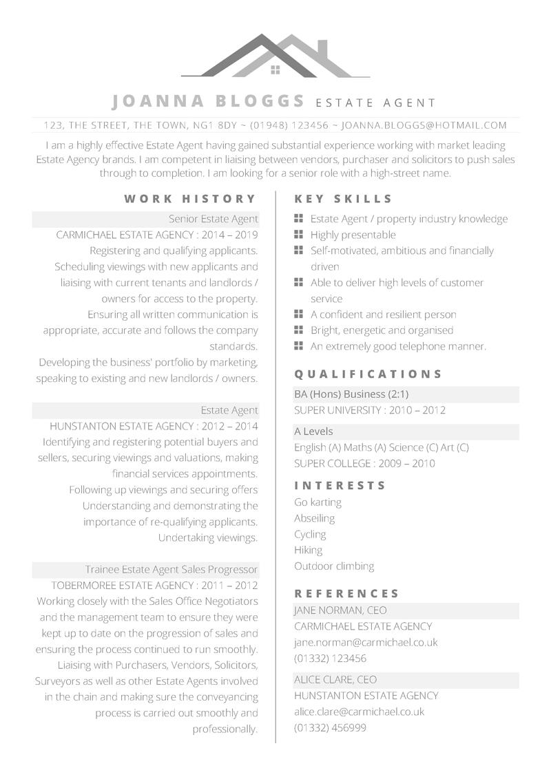 intendance agence cv pdf