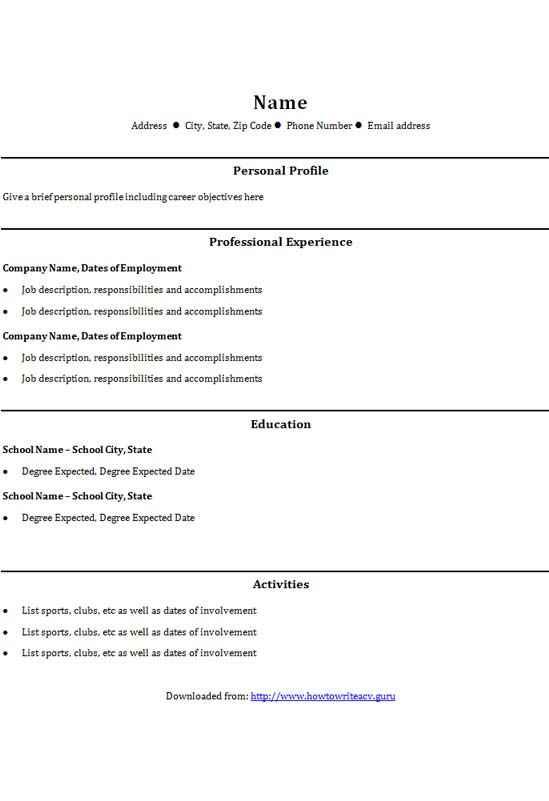 College graduate CV template - CV Template Master