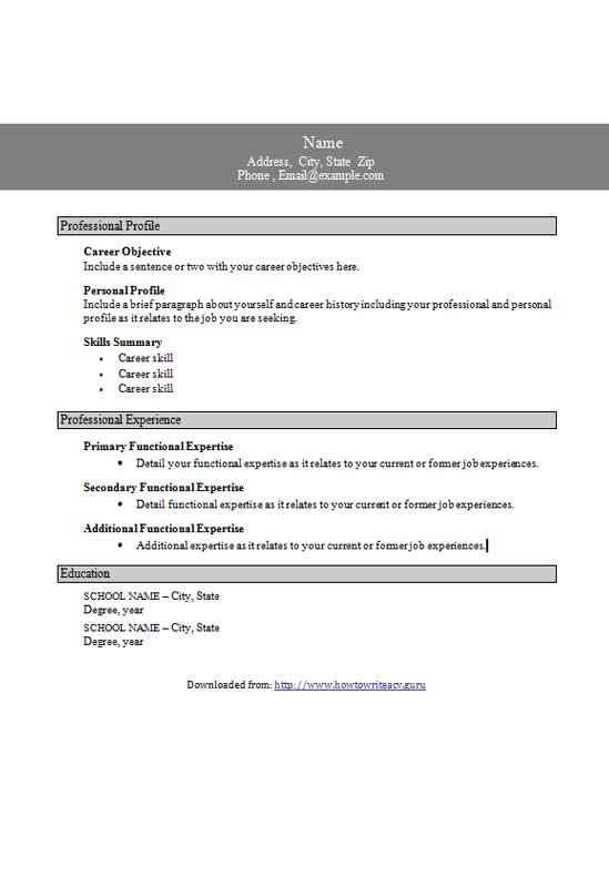 CV template - functional résumé in grey - CV template downloads - functional cv template