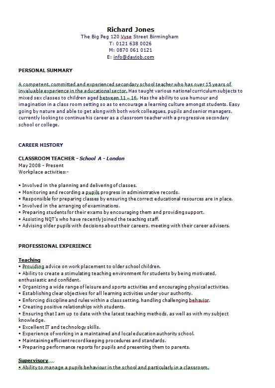 Teacher CV examples, templates and guidance - CV Template Master