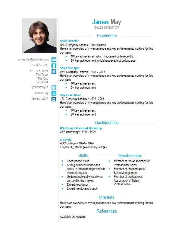 Contact icons Word CV template - CV Template Master