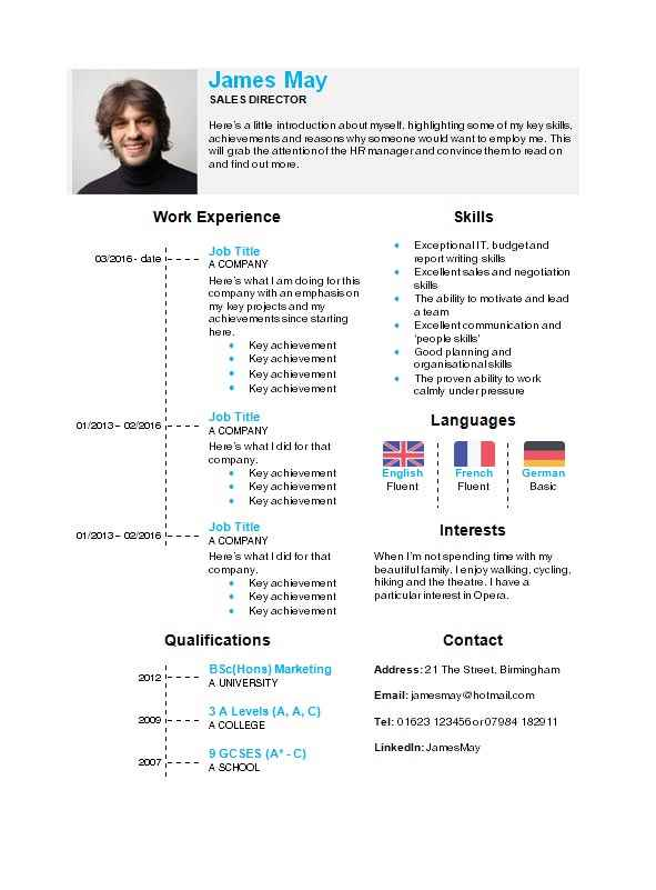 Timeline CV template in Microsoft Word - CV Template Master