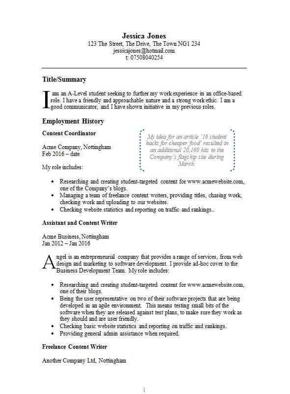Example CV template - free example CV in Microsoft Word - examples of cv