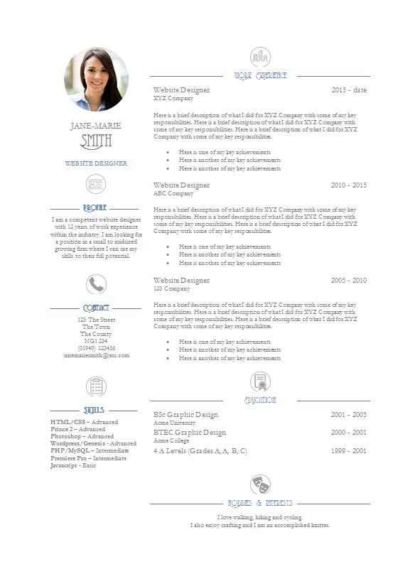 Elegance CV template free download - CV Template Master
