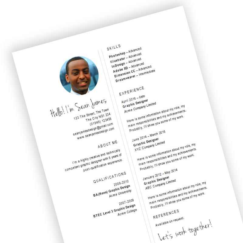 Free Designer CV template download for creative roles in MS Word format - design cv template