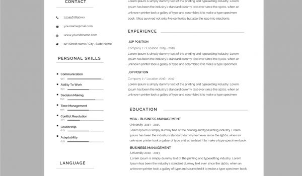 149 CV templates free to download in Microsoft Word format