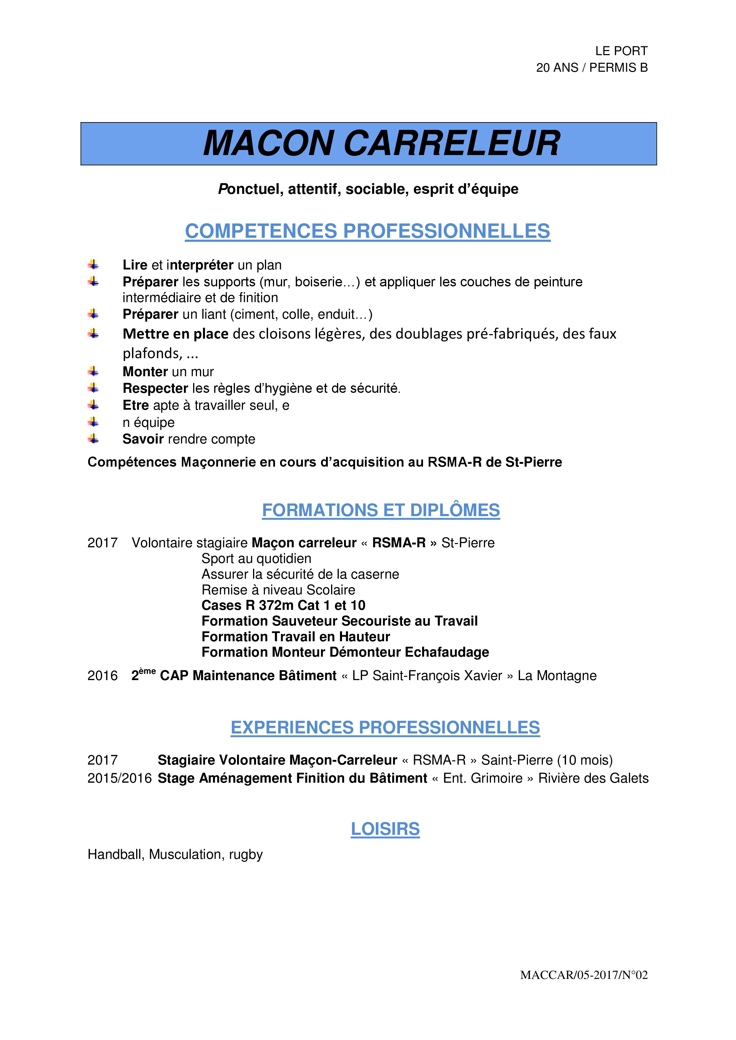 cv de candidat employe serveuse en restauration