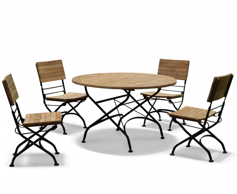 Bistro Round 12m Table 4 Chairs Teak Metal Folding