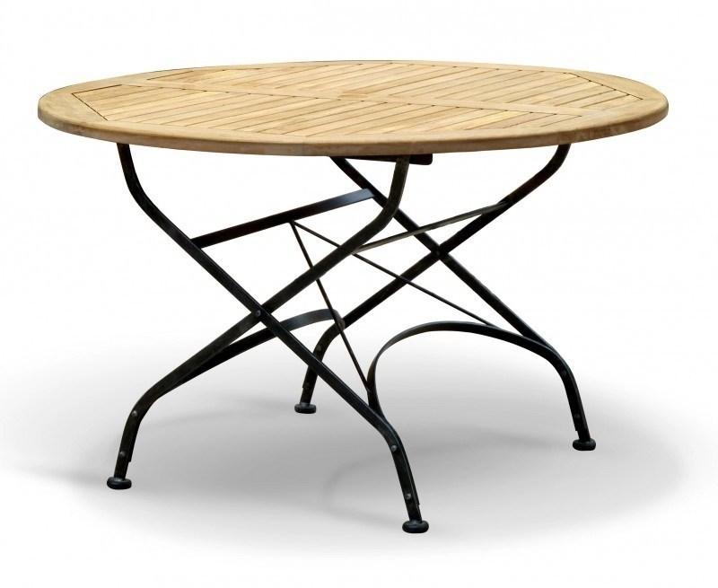 Bistro Round 12m Table 4 Armchairs Teak Metal Folding