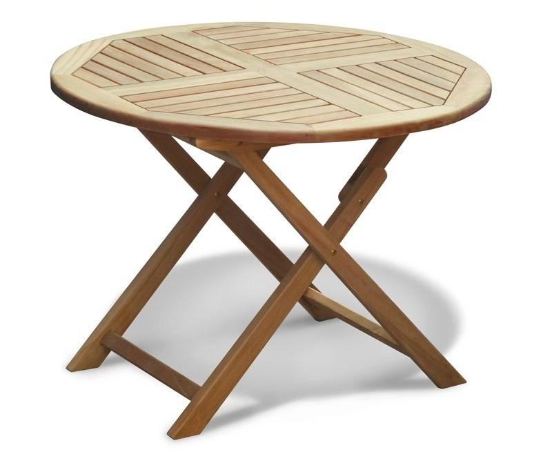 Suffolk Teak Folding Round Garden Table 1m